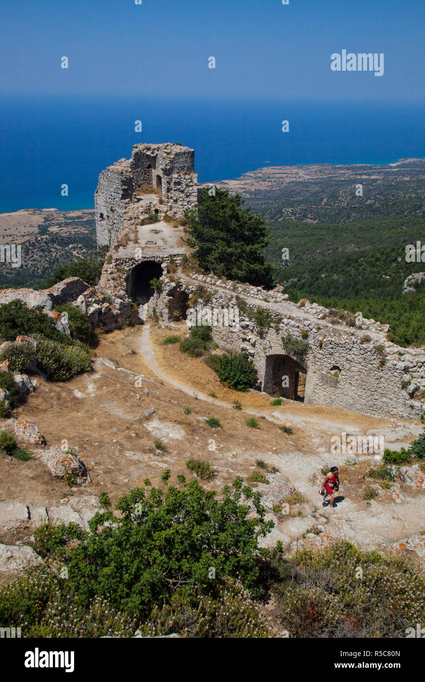 North East Tower of Kantara Castle, North Cyprus Stock Photo