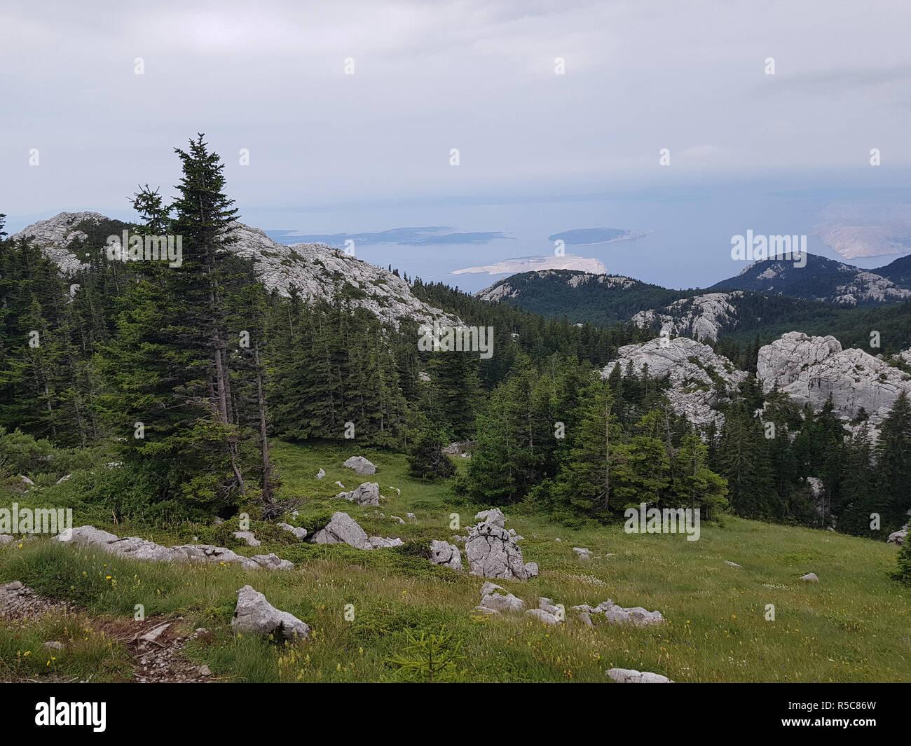 Premuzic mountain trail, Northern Velebit National Park, Croatia Stock Photo