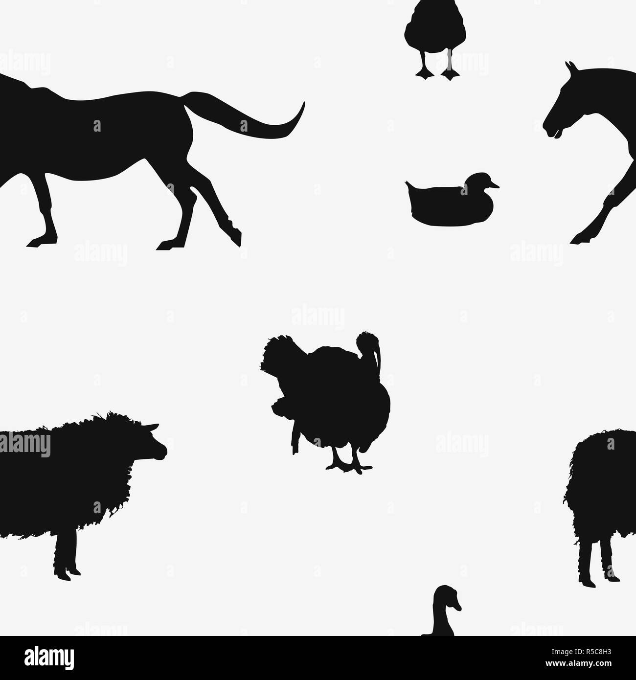 Seamless farm animals pattern black silhouettes isolated on white background. Simple duck, goose bird, sheep, horse wall paper. Butcher shop print Stock Photo