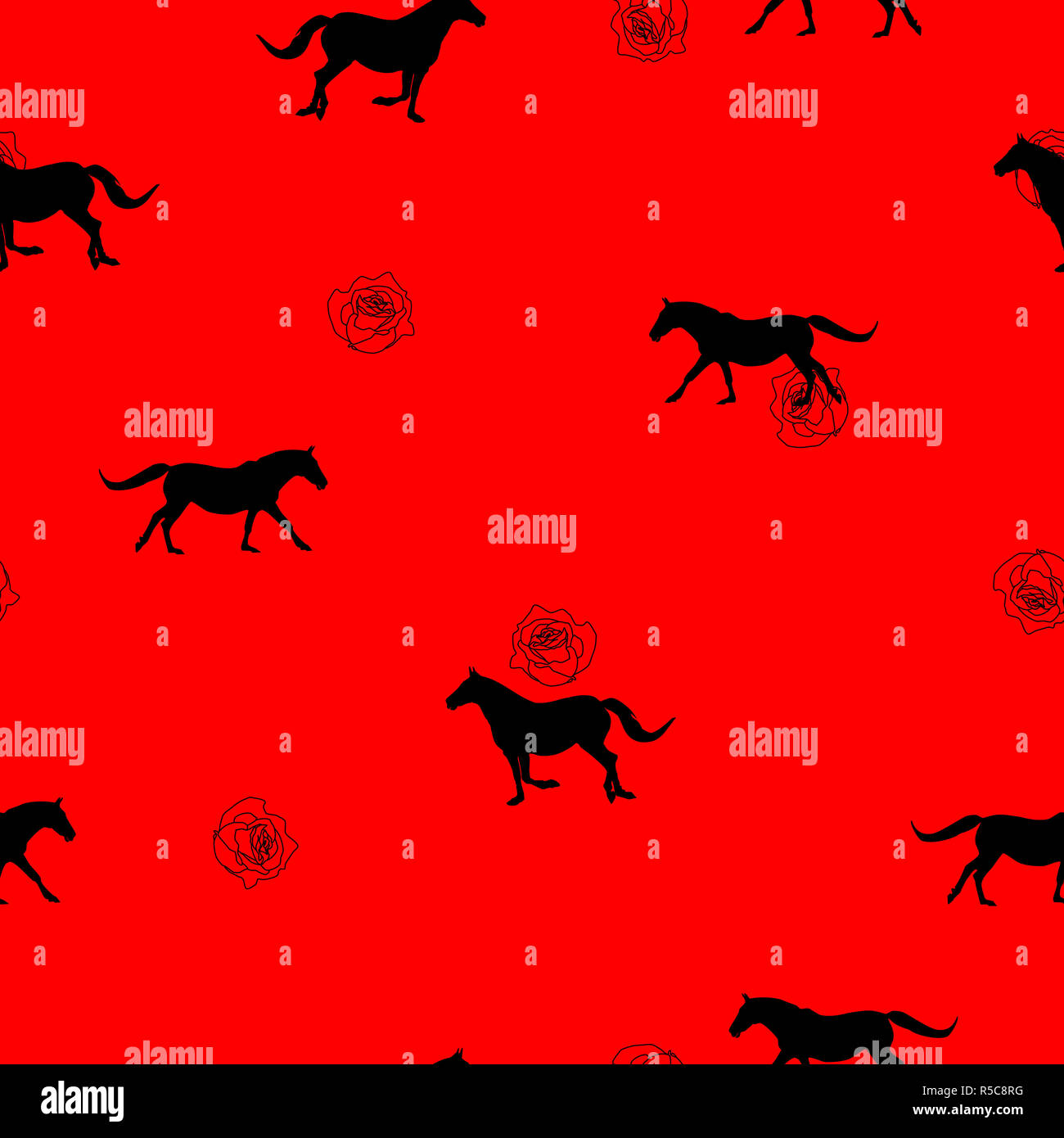 Seamless Wild Animals Pattern Black Horses Silhouette And Small Red Roses On Red Background Modern Pretty Feminine Floral Print Illustration Horses Stock Photo Alamy