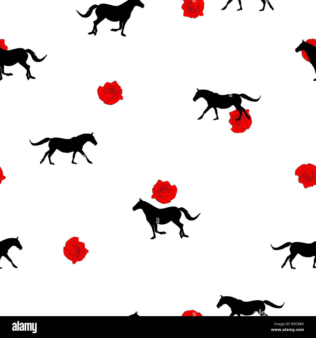 Seamless Wild Animals Pattern Black Horses Silhouette And Small Red Roses On White Background Modern Pretty Feminine Floral Print Illustration Horse Stock Photo Alamy