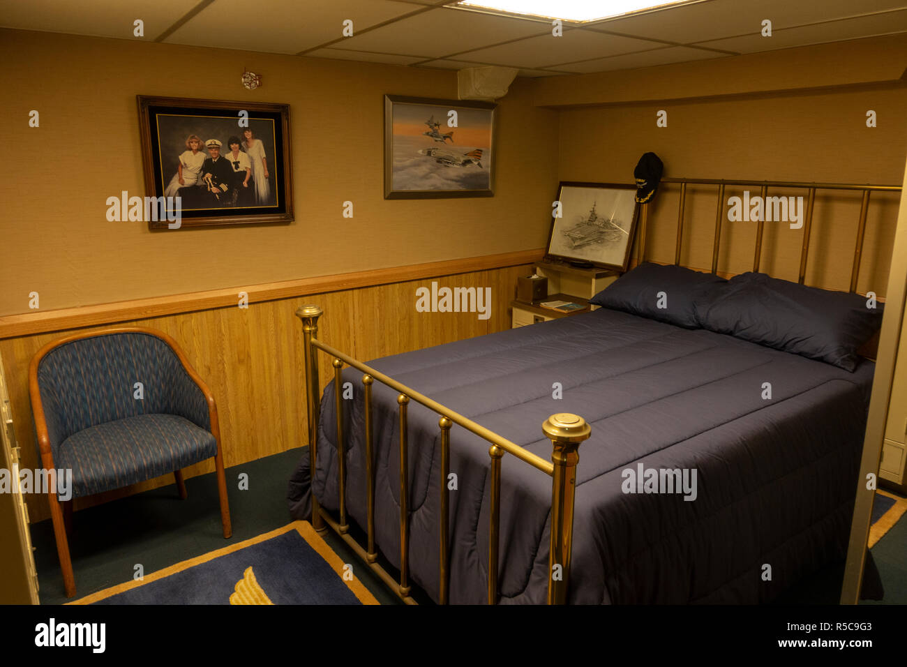 The Captains bedroom, USS Midway, San Diego, California, United States. - Stock Image