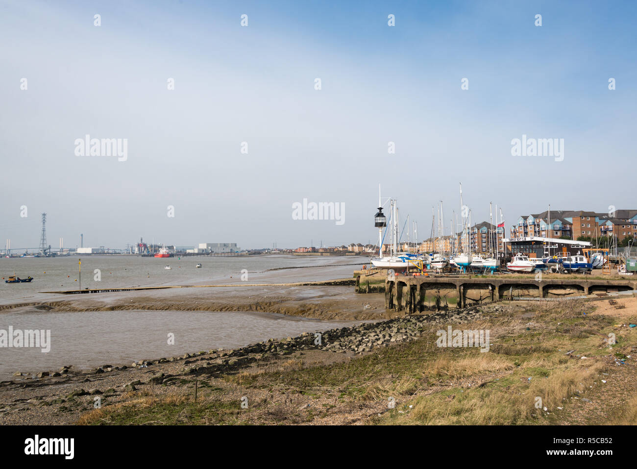 The town of Grays on the Thames Estuary, Essex, UK - Stock Image