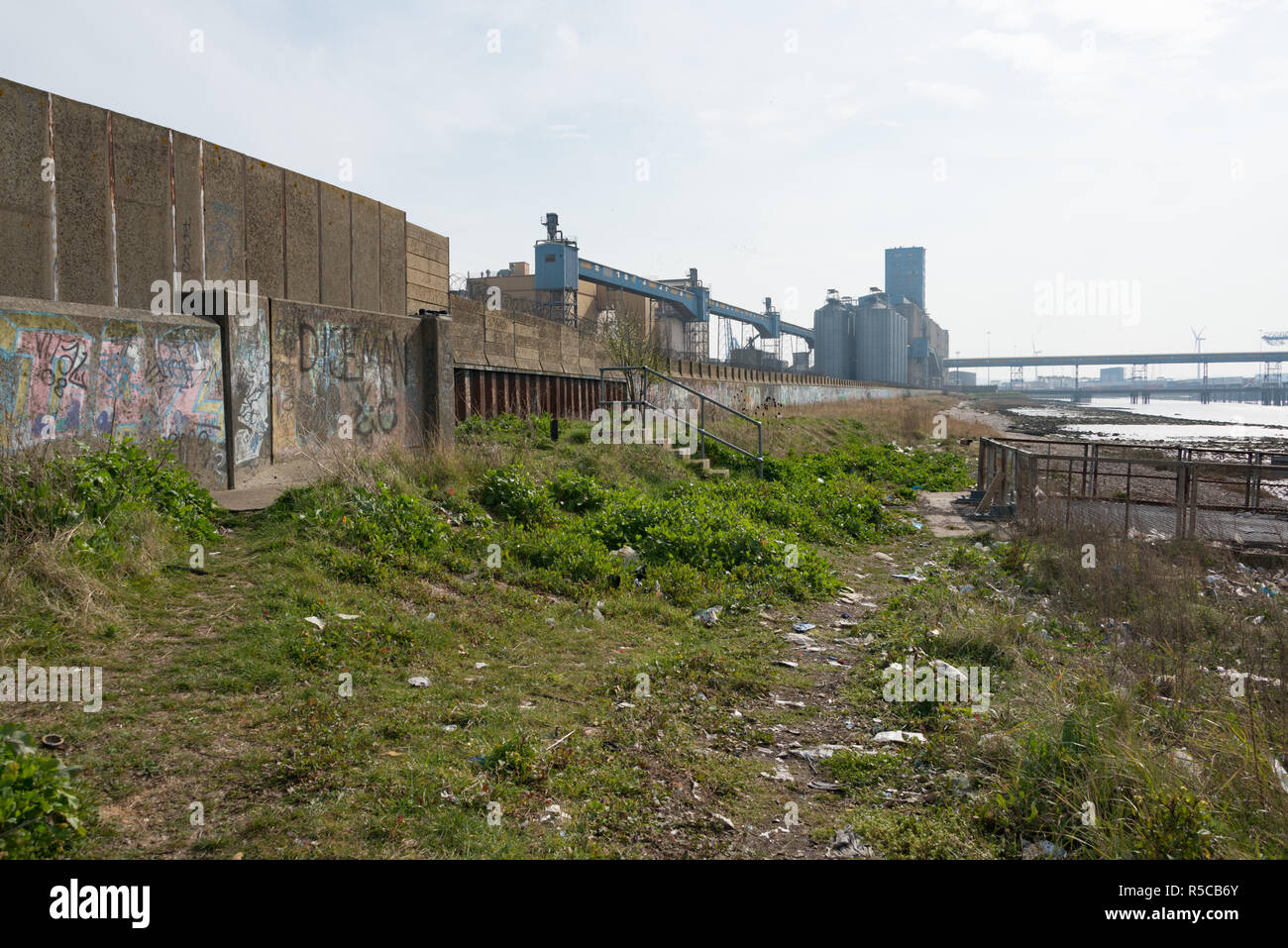 Rubbish strewn on the grass by the Thames estuary at Grays, Essex with the Allied Mills buildings seen behind - Stock Image