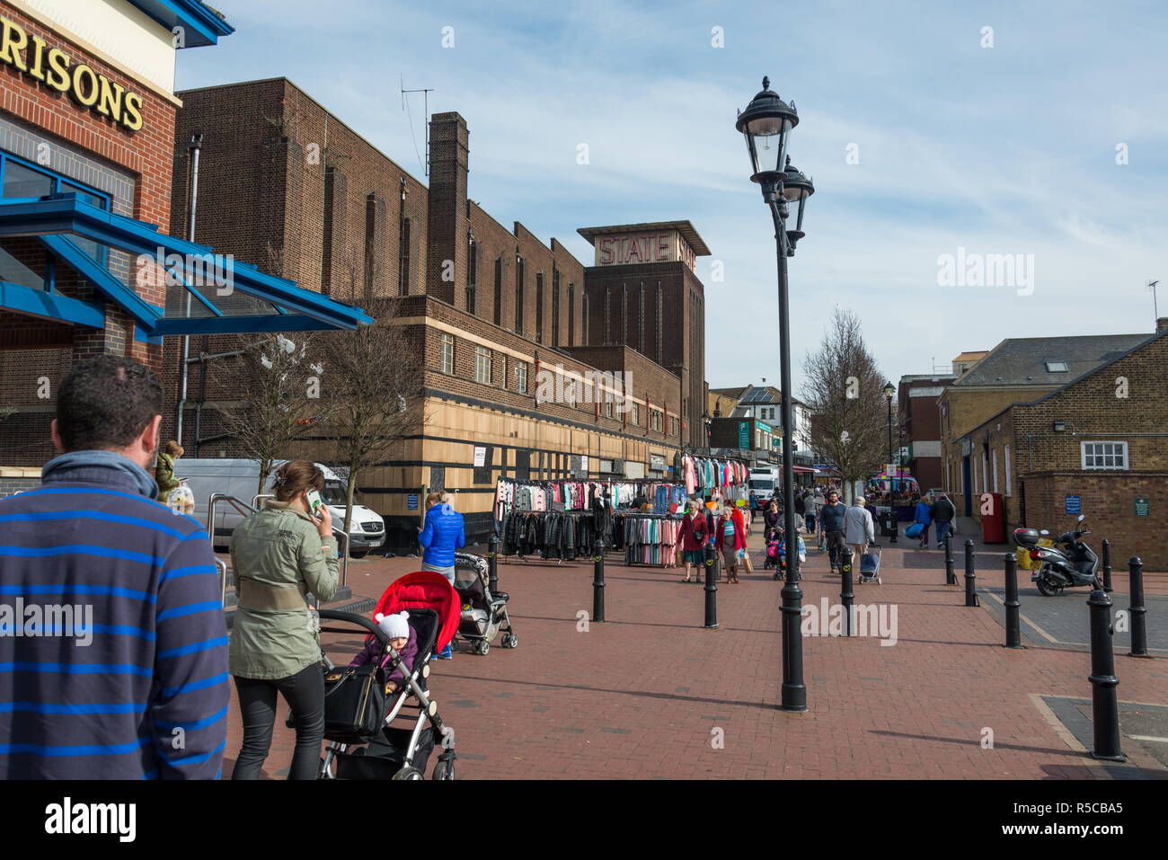 Shopping in the centre of Tilbury, Essex - Stock Image