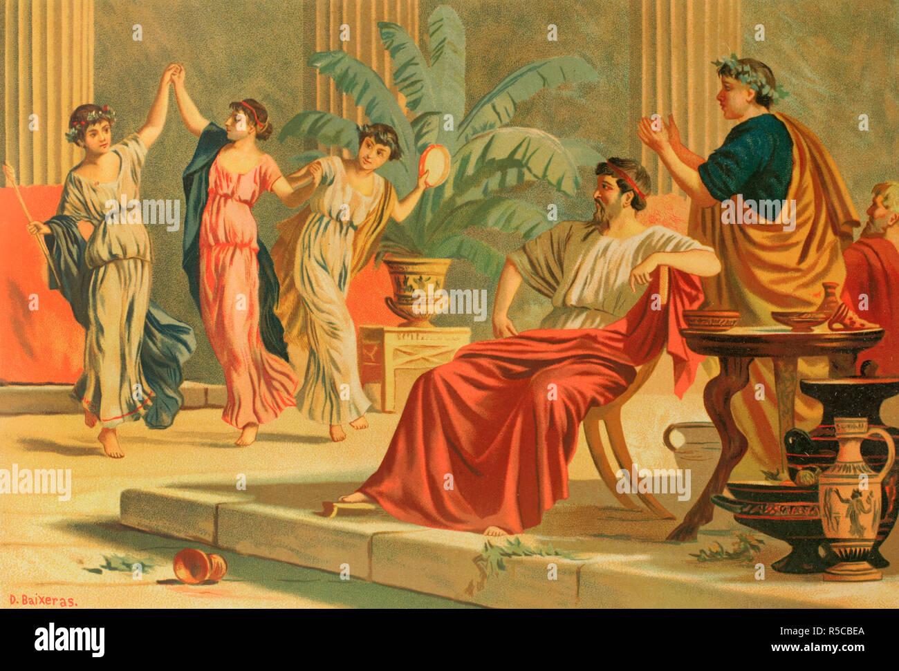 Ancient Greece. Dances after a banquet or simposium. Drawing by Dionisio Baixeras (1862-1943). Chromolithography. La Civilizacion (The Civilization), volume II, 1881. Stock Photo