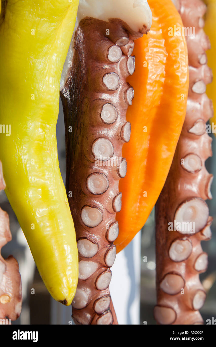 Octopus (ohtapodi) drying outside a restaurant in Fira, Santorini (Thira), Cyclades Islands, Greece Stock Photo