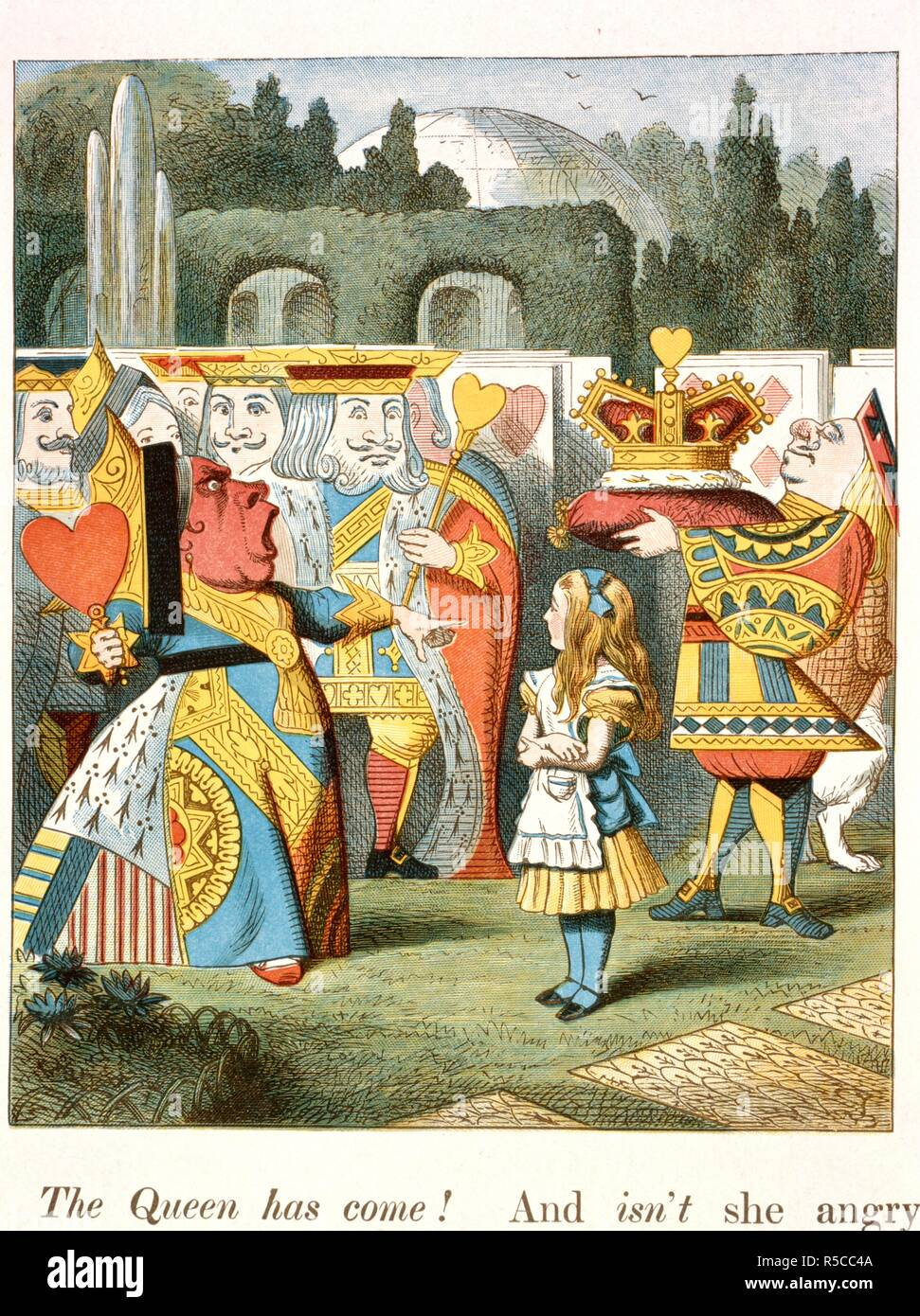 The angry Queen. The Queen of Hearts. . The Nursery :Alice,: containing twenty coloured en. Macmillan & Co.: London, 1890. Source: Cup.410.g.74, 44. Language: English. Author: TENNIEL, JOHN. Carroll, Lewis pseud. [i. e. Charles Lutwidge Dodgson]. Stock Photo