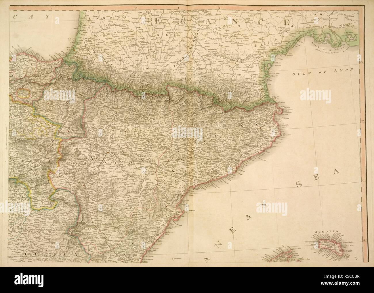 Map Of Spain Navarra.Map Of France And Spain Place Names In Bold Aragon Cataluna