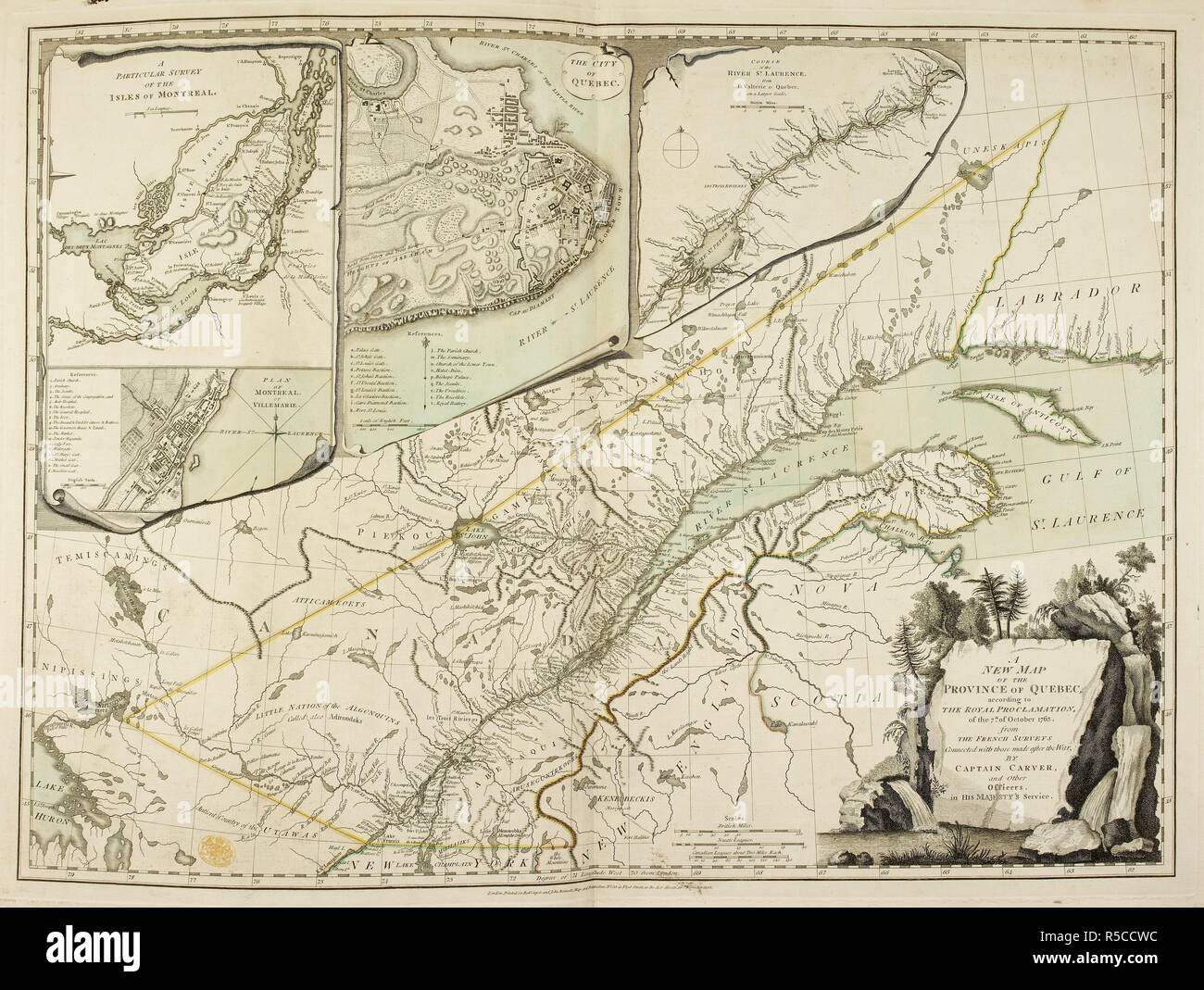 A New Map of the Province of Quebec. A New Map of the Province of Quebec, according to the Royal Proclamation of the 7th October, 1763 ... by Captain Carver and other Officers, etc. 1776. Source: Maps.K.Top.119.19. Language: English. - Stock Image