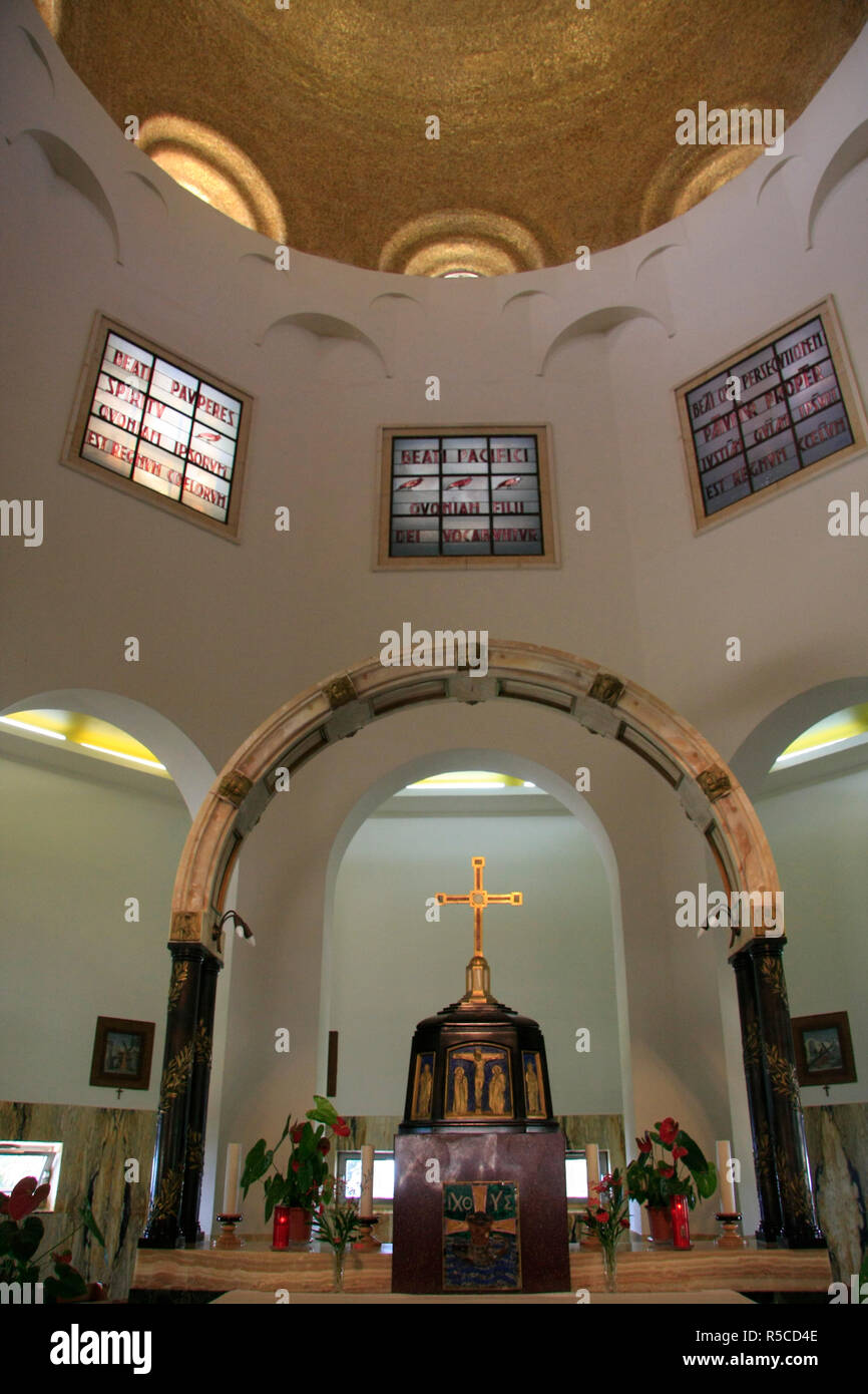 Israel, the Church of Beatitudes on the Mount of Beatitudes Stock Photo