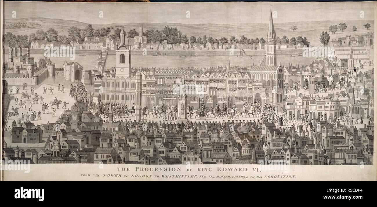 The procession of King Edward VI from the Tower of London to Westminster, February 19th, 1547. The procession of King Edward VI. from the Tower of London to Westminster, February 19, 1547, previous to his coronation; from a coeval painting at Cowdry. London, 1787. Source: 3.Tab.24.(4.). Language: English. Author: Grimm, Samuel Hieronymous. - Stock Image
