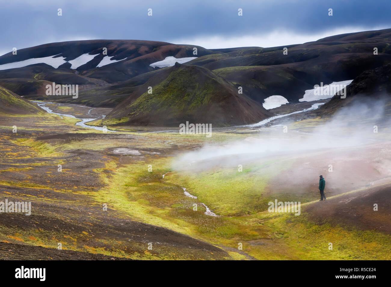 Steam vents, Rhiolite Mountains, Landmannalaugar, Iceland - Stock Image
