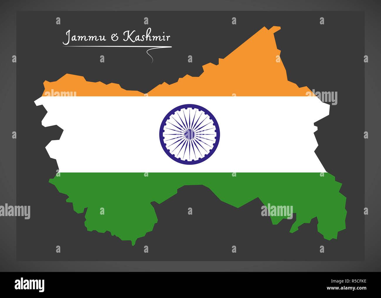 map jammu and kashmir flag Jammu And Kashmir Map With Indian National Flag Illustration Stock map jammu and kashmir flag