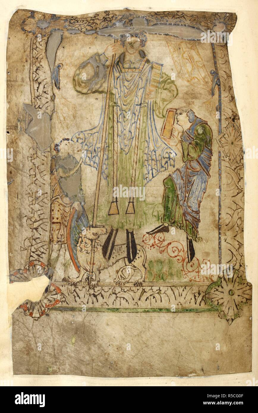 Illustration prefacing the table of contents. In the centre, a monumental figure of an ecclesiastic, dressed in green amice, blue chasuble and red stole, holds a spear in his right hand and a book in his left, and stands on a lion that bites the spear. He is flanked by two smaller figures; a soldier with a round shield and a scroll, and a monk offering a book; there are two yellow curtains drawn aside in the background. The figures are surrounded by a 'Winchester' type border of acanthus decoration with corner bosses. Old English Herbal. Christ Church, Canterbury; early 11th century. Source: C Stock Photo
