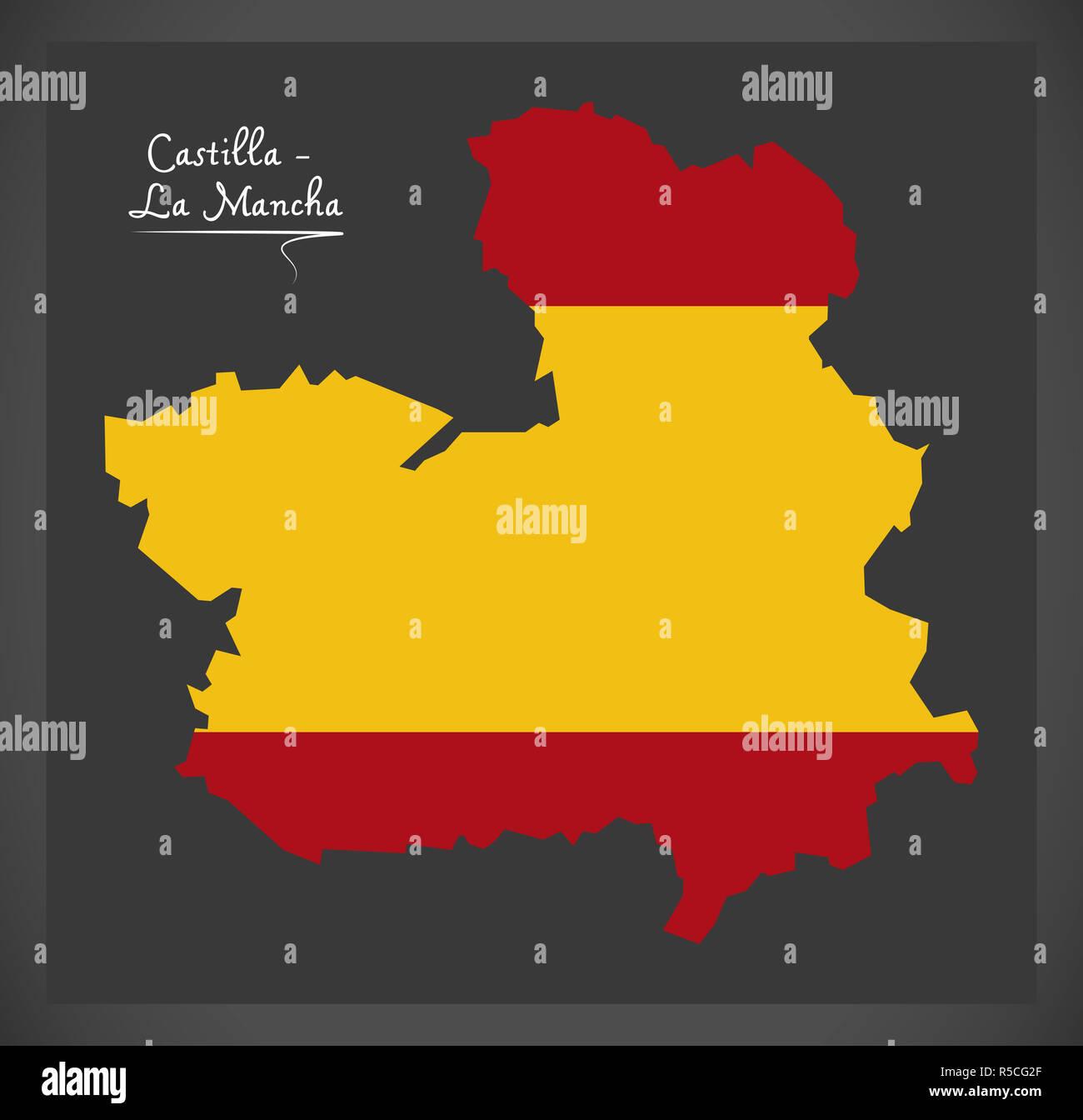 Map Of Spain La Mancha.Castilla La Mancha Map With Spanish National Flag Illustration