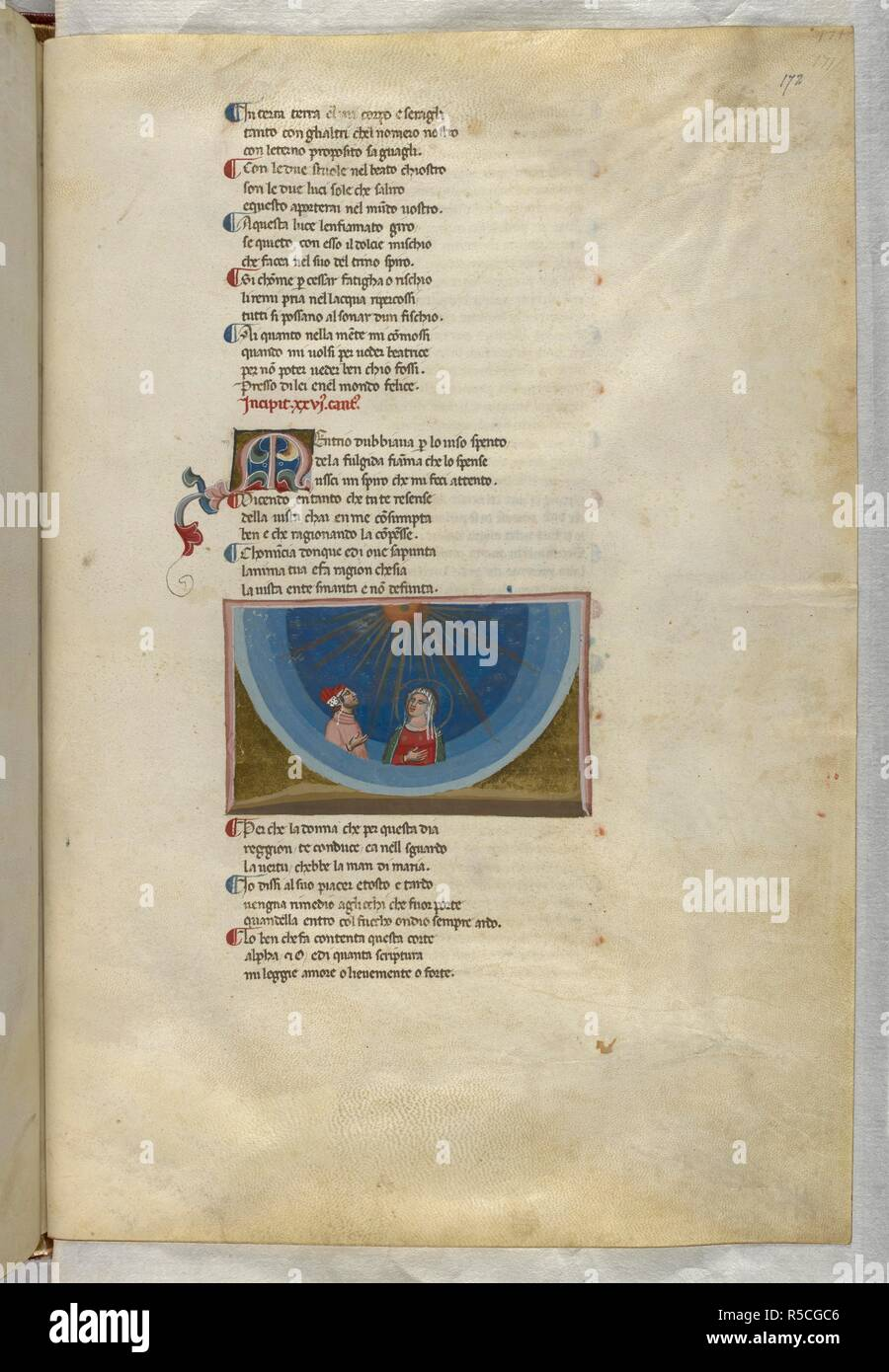 Paradiso : Dante and Beatrice look up to heaven. Dante Alighieri, Divina Commedia ( The Divine Comedy ), with a commentary in Latin. 1st half of the 14th century. Source: Egerton 943, f.172. Language: Italian, Latin. - Stock Image
