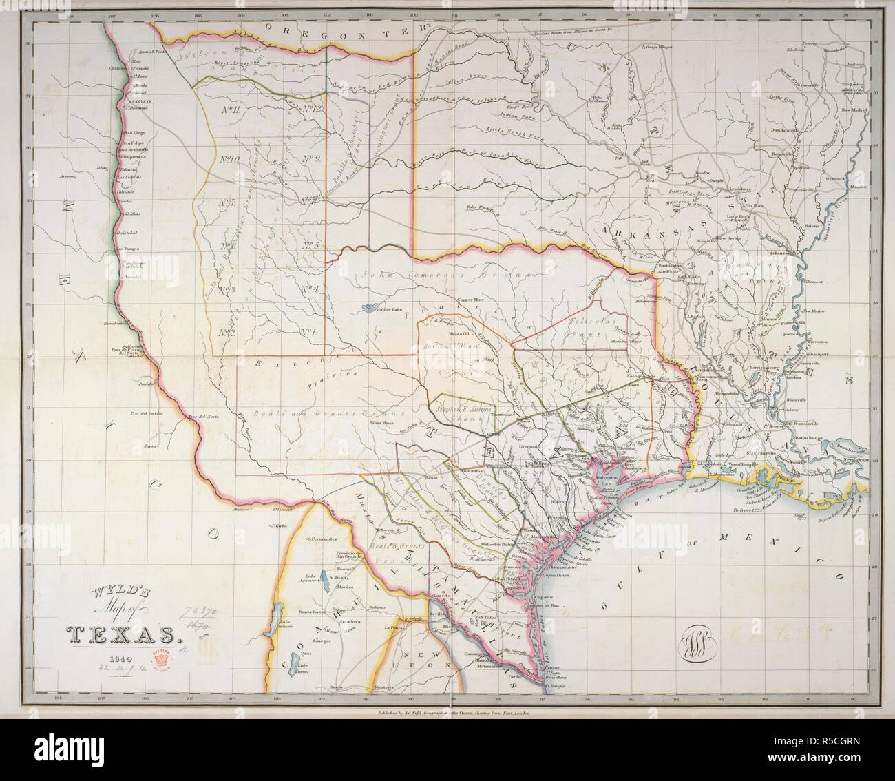 Map Of Texas 1840.Texas Wyld S Map Of Texas London 1840 Source Maps 74870 5