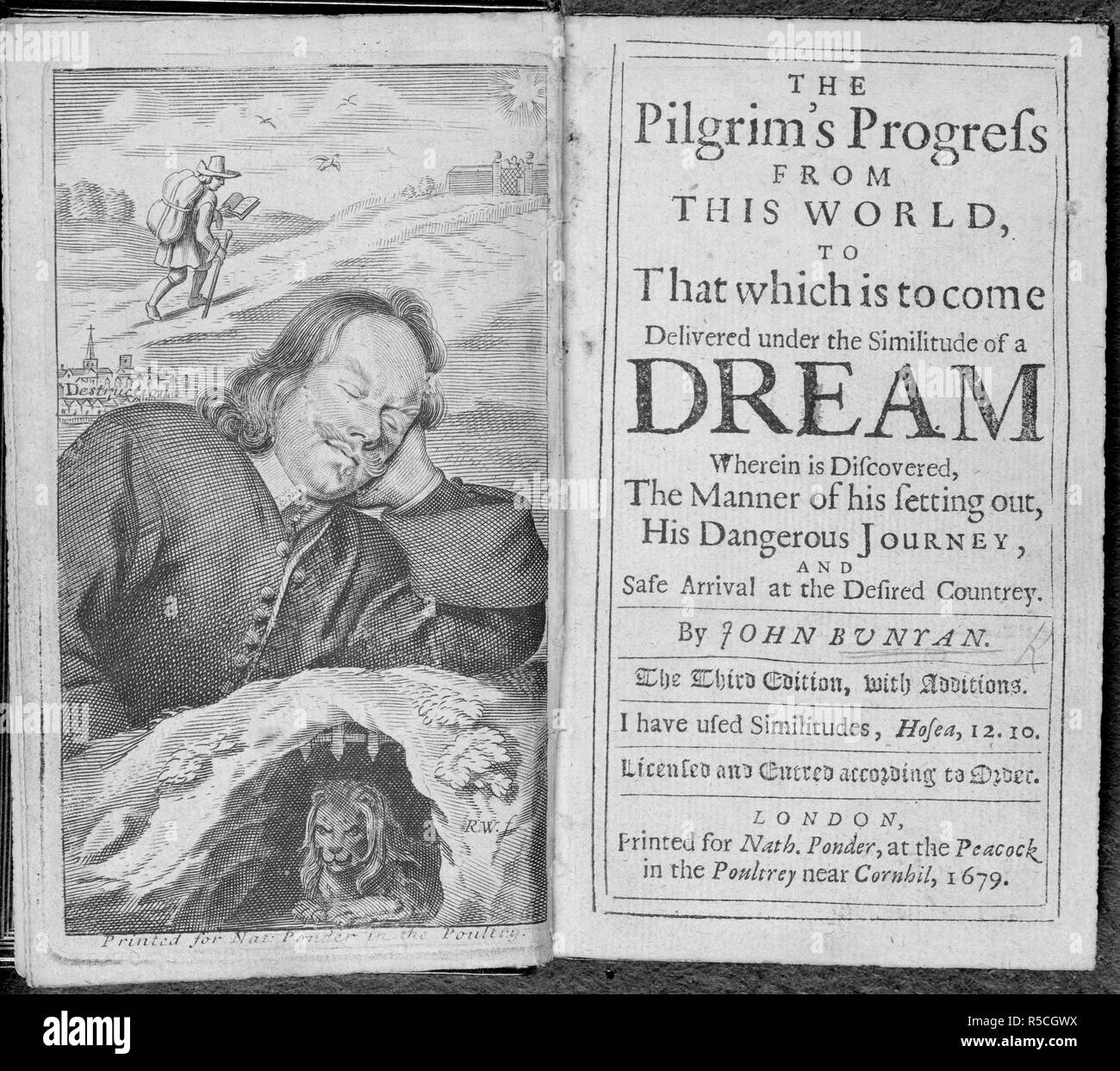Portrait and title page of 'Pilgrim's Progress'. [The Pilgrim's Progress from this world, to that which is to come: delivered under the similitude of a dream. Wherein is discovered, the manner of his setting out, his dangerous journey; and safe arrival at the desired countrey.]. London, 1679. Source: C.70.aa.3, frontispiece and title page. Language: English. Author: BUNYAN, JOHN. - Stock Image