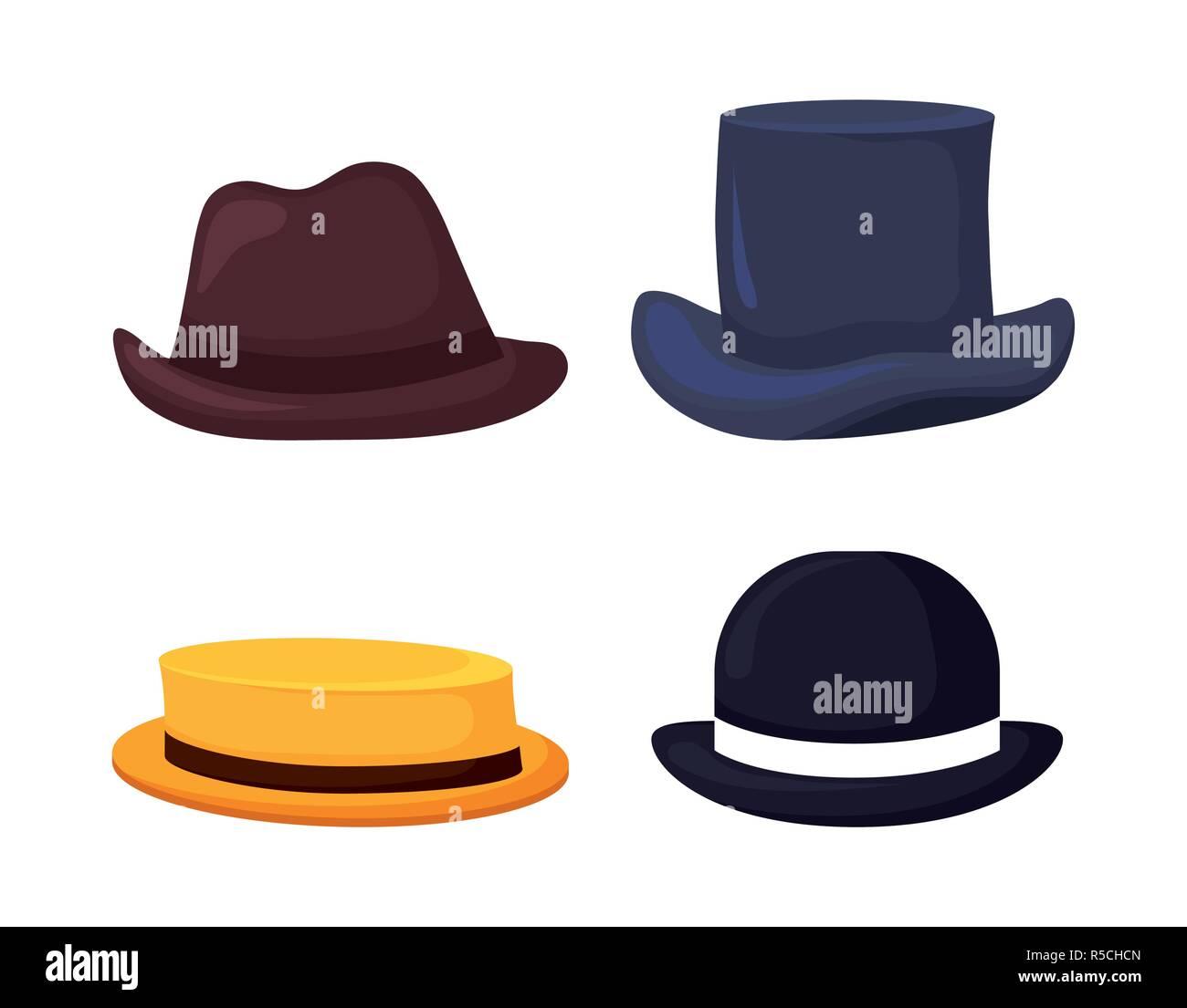 f4512789 set of elegant gentleman hats vector illustration design Stock ...