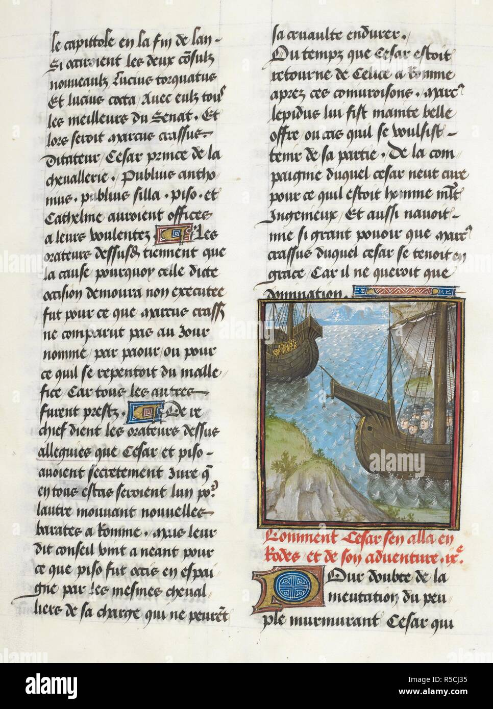 Voyage to Rhodes (Book 1, 9). Caesar, translated by Jan Du Quesne (or Jean Duchesne), Bellum Gallicum ( Les commentaires de Cesar ). 1473-1476. Source: Royal 16 G.VIII, f.35. Author: JULIUS CAESAR. Du Quesne, Jehan. Circle of the Master of the London Wavrin. - Stock Image