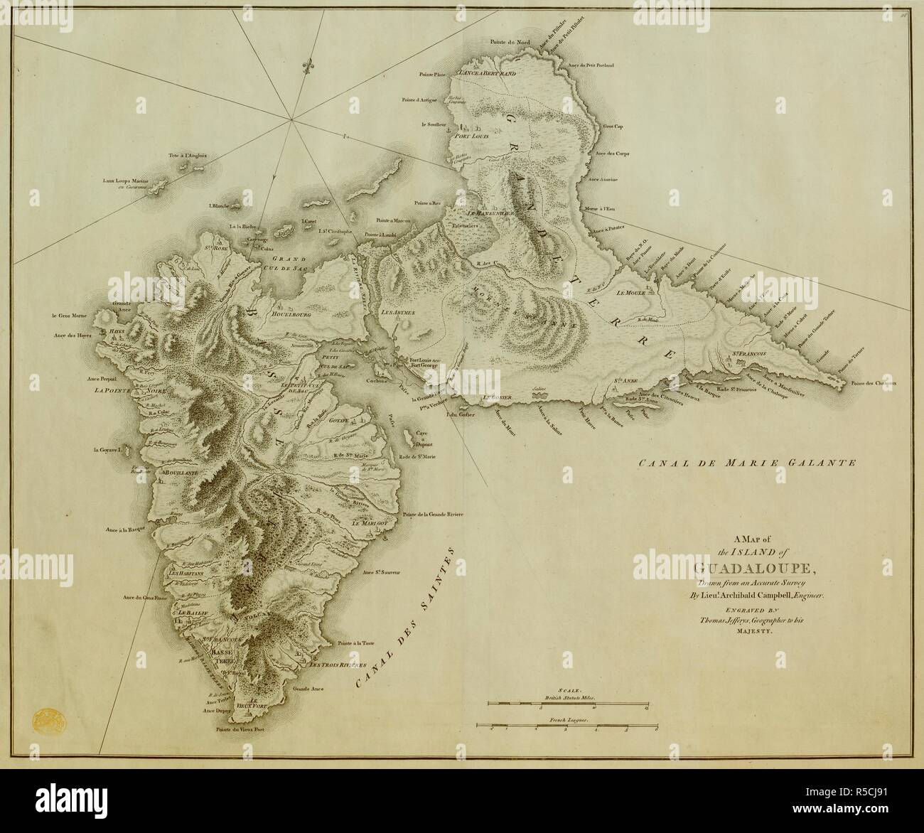Campbell Map Stock Photos Images Alamy Engineer Scale Diagram A Of Guadeloupe The Island Guadaloupe Drawn From An