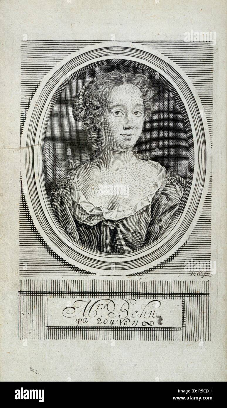 Aphra Behn (1640-1689). English writer. Portrait. Poems upon several occasions, with a voyage to the the island of Love. Francis Saunders: London, 1697. Source: 11626.bb.5, frontispiece. - Stock Image