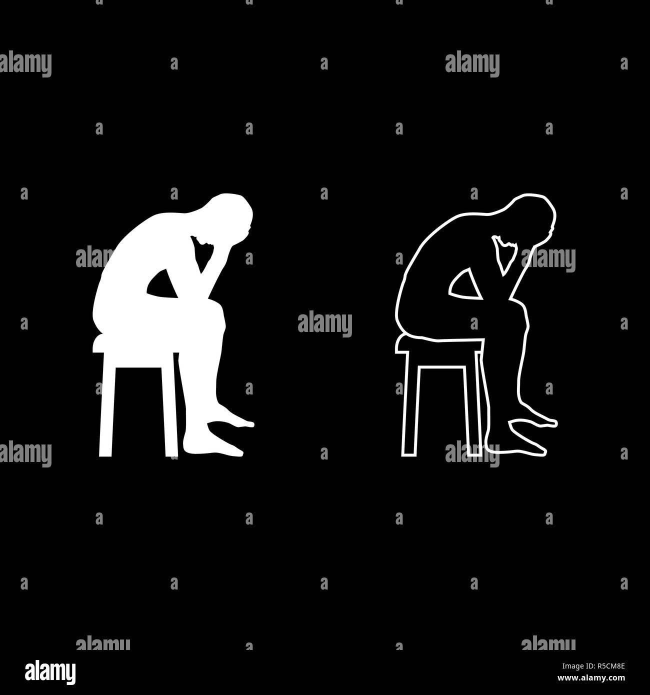 Man holding his head concept problem silhouette Sitting no seat icon set white color vector I flat style simple image - Stock Vector