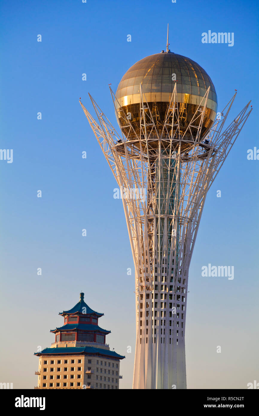Kazakhstan, Astana, Nurzhol Bulvar - central boulevard, Bayterek Tower Stock Photo