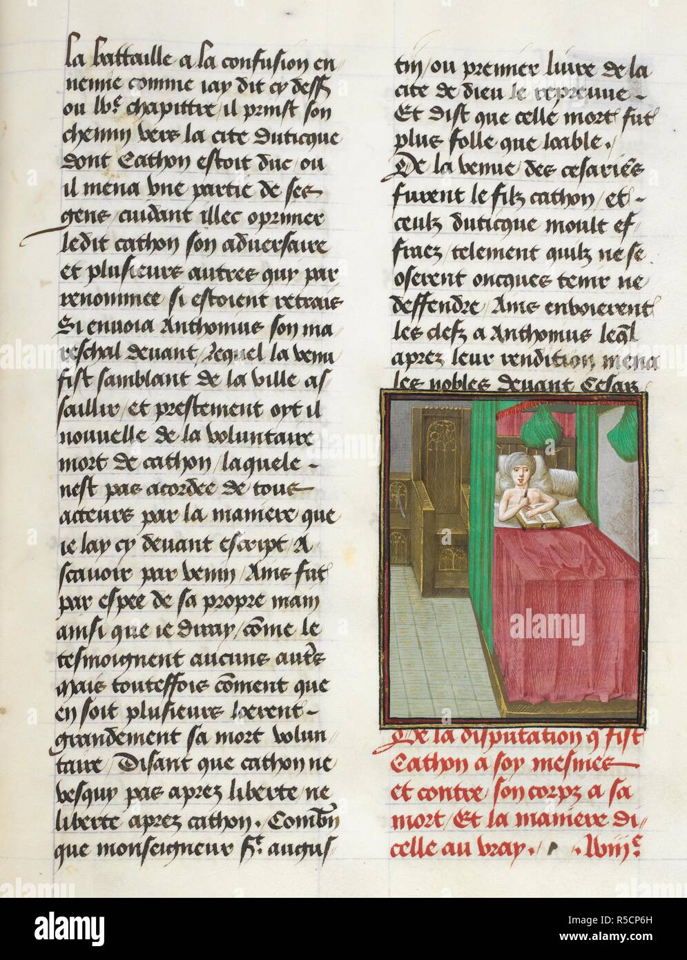 Suicide of Cato (Book 10, 58). Caesar, translated by Jan Du Quesne (or Jean Duchesne), Bellum Gallicum ( Les commentaires de Cesar ). 1473-1476. Source: Royal 16 G.VIII, f.324. Author: JULIUS CAESAR. Du Quesne, Jehan. Circle of the Master of the London Wavrin. - Stock Image