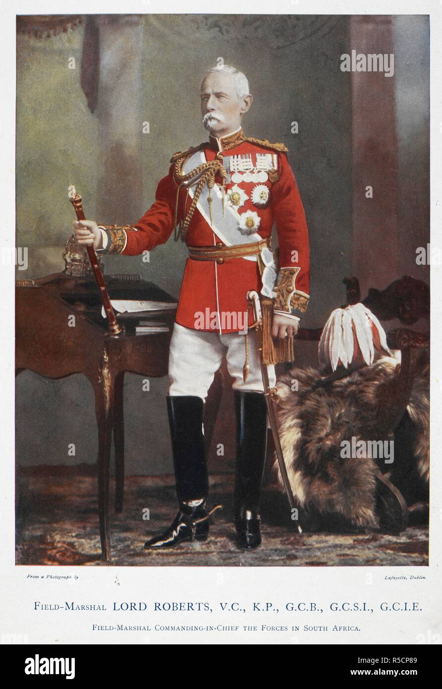 Field-Marshal Lord Frederick Sleigh Roberts, VC, KP, GCB, GCSI, GCIE (1832-1914). Field-Marshal Commanding-in-Chief the Forces in South Africa. Celebrities of the Army. [Coloured portraits, with short biographical notices.]. George Newnes: London, 1900. Source: 1766.a.3, page 17. Language: English. Author: Robinson, Charles Napier. Lafayette. - Stock Image