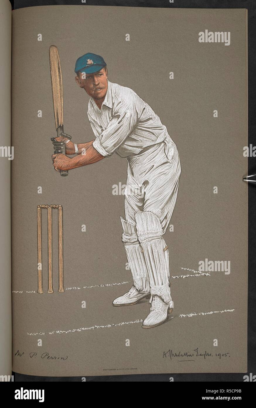 """Mr. P. Perrin, Essex. Percival Albert Perrin (1876–1945), known as either """"Percy"""" or """"Peter"""", was an English cricketer who played for Essex for more than thirty years from 1896. The Empire's Cricketers. From original drawings by A. Chevallier Tayler. With biographical sketches by G. W. Beldam. Season 1905 [48 plates with descriptive text.]. [London] : The Fine Art Society, Ltd. 148 New Bond Street, W., [1905]. Source: C.194.c.87, plate 44. Language: English. Stock Photo"""