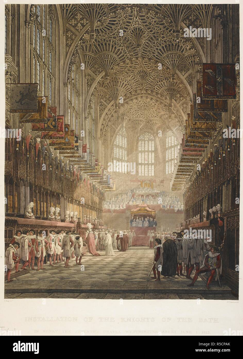 Interior view of a chapel with knights with plumed helmets standing on either side of the choir; windows and the royal box at the end of the chapel; a congregation and an organ below the window on the far wall; the scene bathed in sunlight from the right. INSTALLATION OF THE KNIGHTS OF THE BATH IN HENRY THE SEVENTH'S CHAPEL WESTMINSTER ABBEY JUNE 1 1812. [London] : Pubd. by R. Ackermann 1813 Repository of Arts 202 Strand, 1813. Aquatint and etching with hand-colouring. Source: Maps K.Top.24.4.ff.1-3. Language: English. Author: LEWIS, FREDERICK CHRISTIAN. Stock Photo
