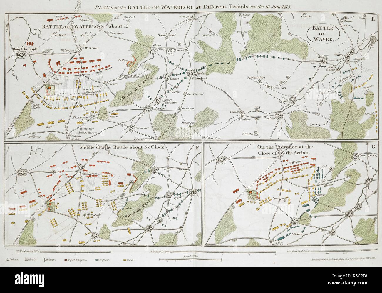 Plans of the Battle of Waterloo at different periods on the 18th June, 1815. ... about 12, about 3 O'clock and on the advance at the close of the action. The Battle of Waterloo, also of Ligny and Quatre-Bras described by ... a near observer ... [A narrative by C. A. Eaton, with a sketch by J. Waldie... from sketches by Captain G. Jones. 2 vol. John Booth; T. Egerton: London, 1817. Source: G.5651 part 2, 2nd plate. Author: Eaton, Charlotte Anne. - Stock Image