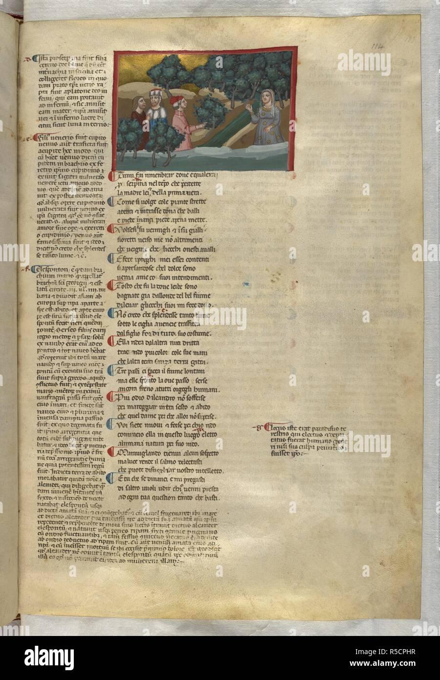 Purgatorio:  They meet Matilda. Dante Alighieri, Divina Commedia ( The Divine Comedy ), with a commentary in Latin. 1st half of the 14th century. Source: Egerton 943, f.114. Language: Italian, Latin. - Stock Image