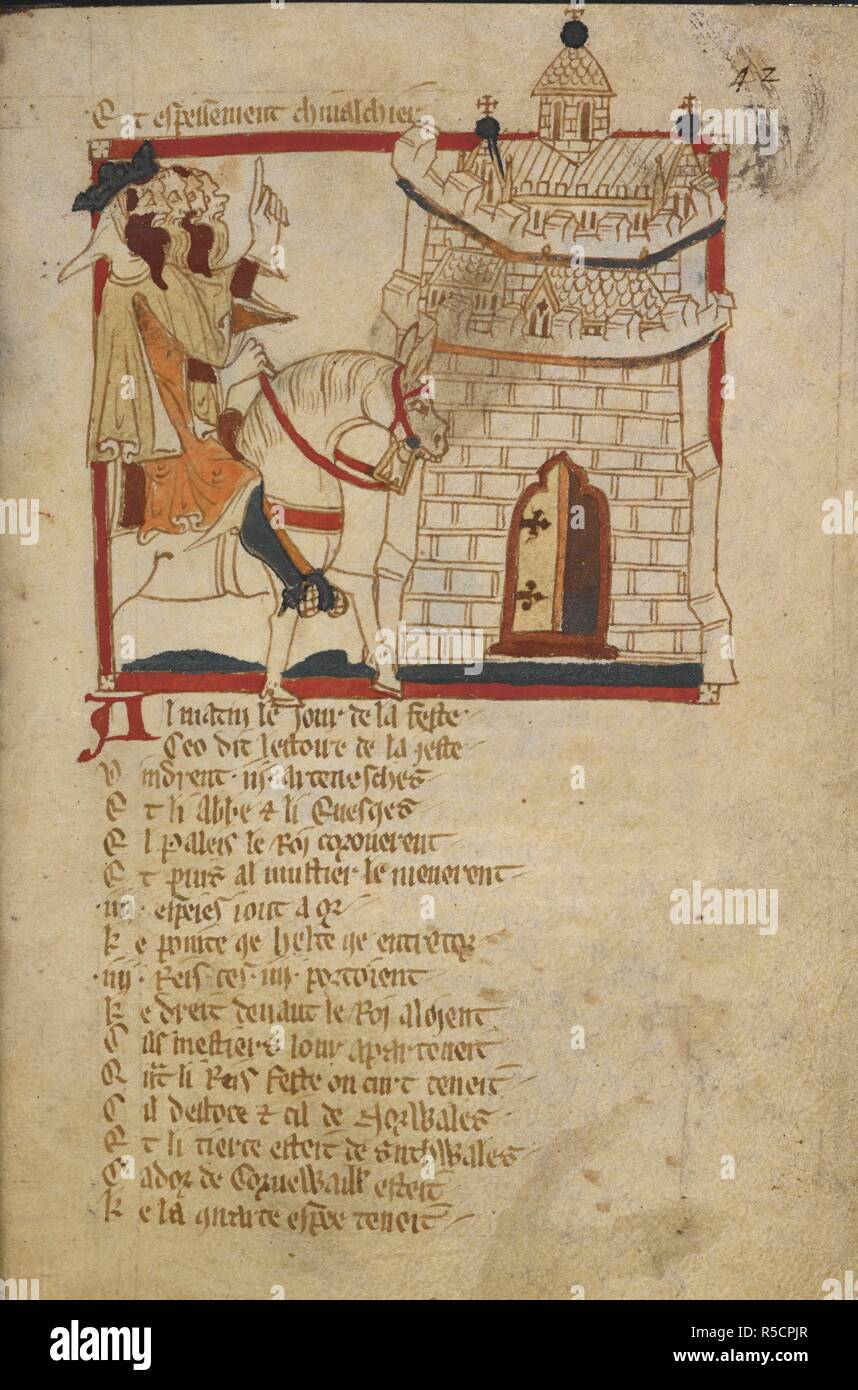 Arthur arrives at Caerleon. ROMANCES in French verse ... 14th century. Source: Egerton 3028 f.42. Author: Wace, Canon of Bayeux. Stock Photo