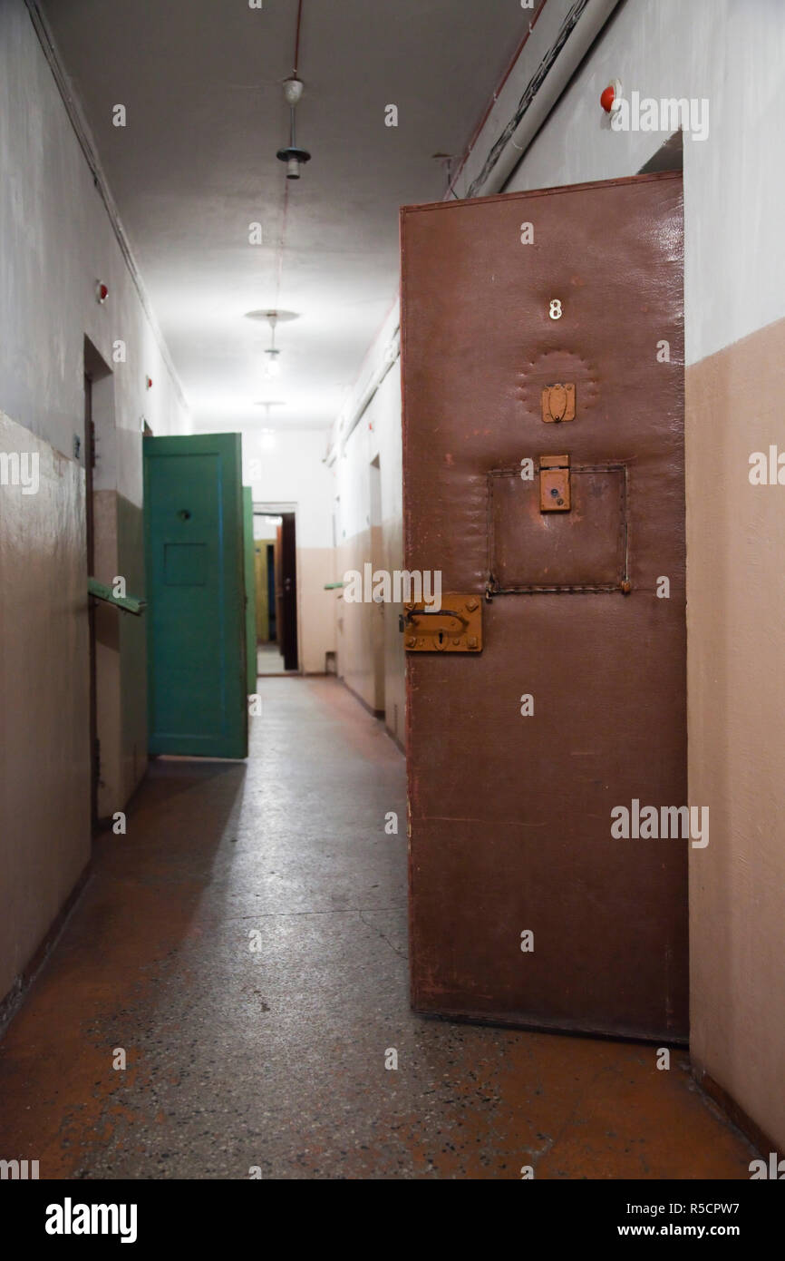 Lithuania, Vilnius, Museum of Genocide Victims, former KGB headquarters, prison cell - Stock Image