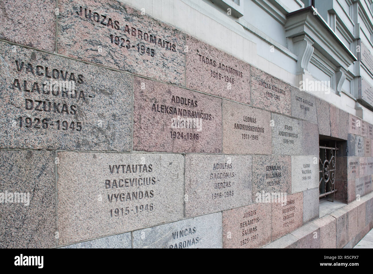 Lithuania, Vilnius, Museum of Genocide Victims, housed in former KGB building, wall memorials - Stock Image