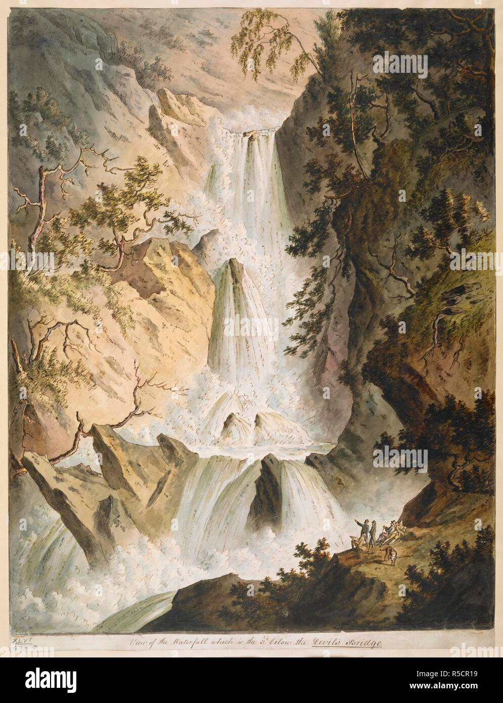 Figures and a dog standing looking at three waterfalls; rocks and trees on either side. View of the Waterfall which is the third below the Devil's Bridge. between 1790-1802. Pen and black ink with watercolour. Source: Maps K.Top.46.69.e. Language: English. - Stock Image