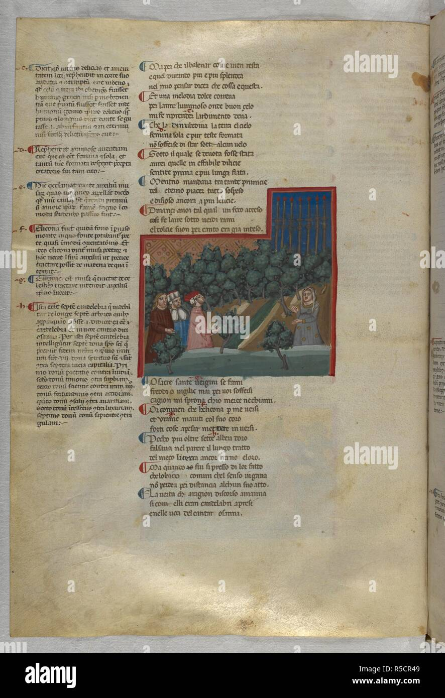 Purgatorio: Seven candles appear ahead. Dante Alighieri, Divina Commedia ( The Divine Comedy ), with a commentary in Latin. 1st half of the 14th century. Source: Egerton 943, f.115v. Language: Italian, Latin. - Stock Image