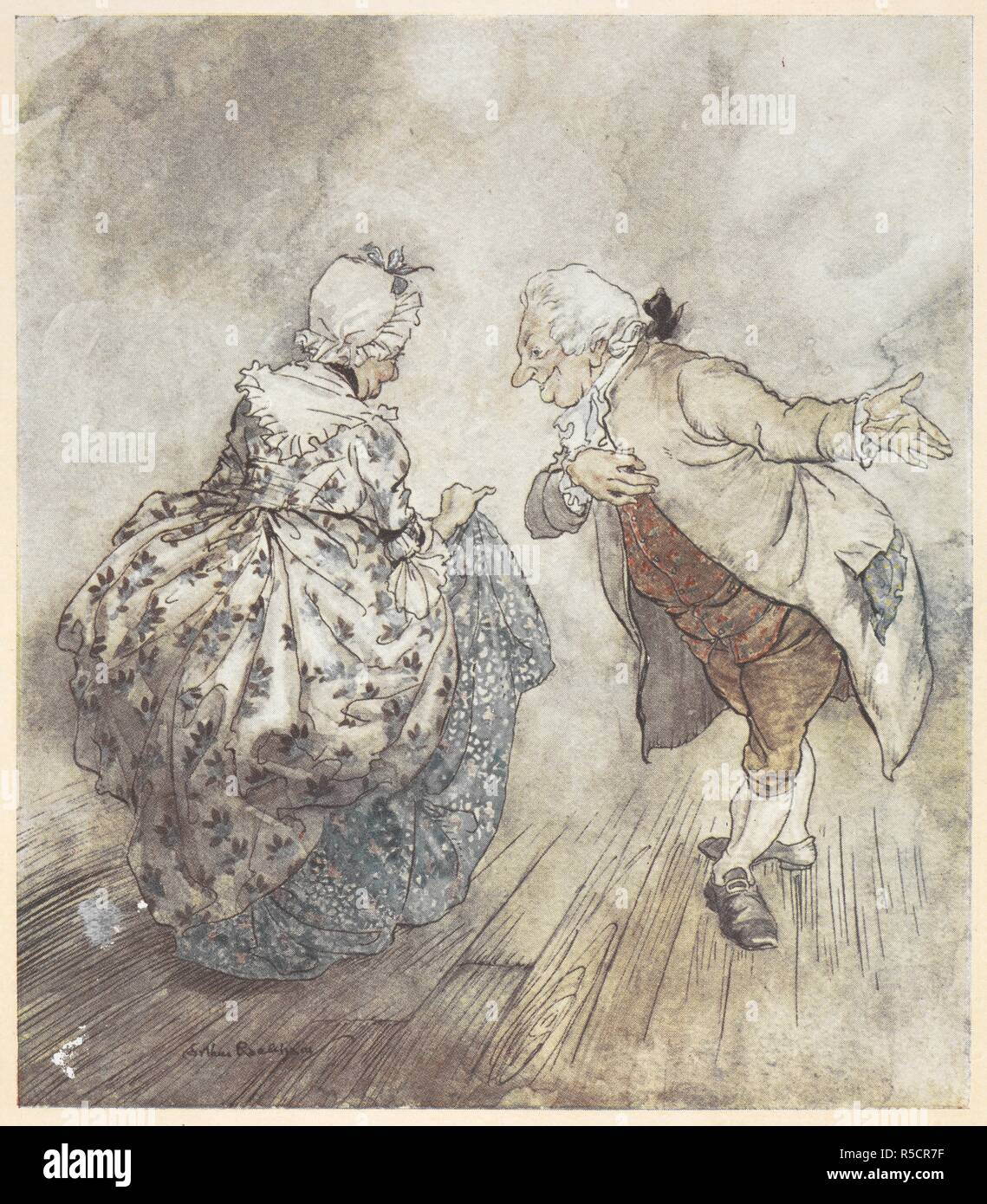 An Old Couple In Formal Clothing About To Dance A Christmas Carol Illustrated By Arthur Rackham London J B Lippincott Co Philadelphia Wiiliam Heinemann 1915 Then Old Fezziwig Stood Out