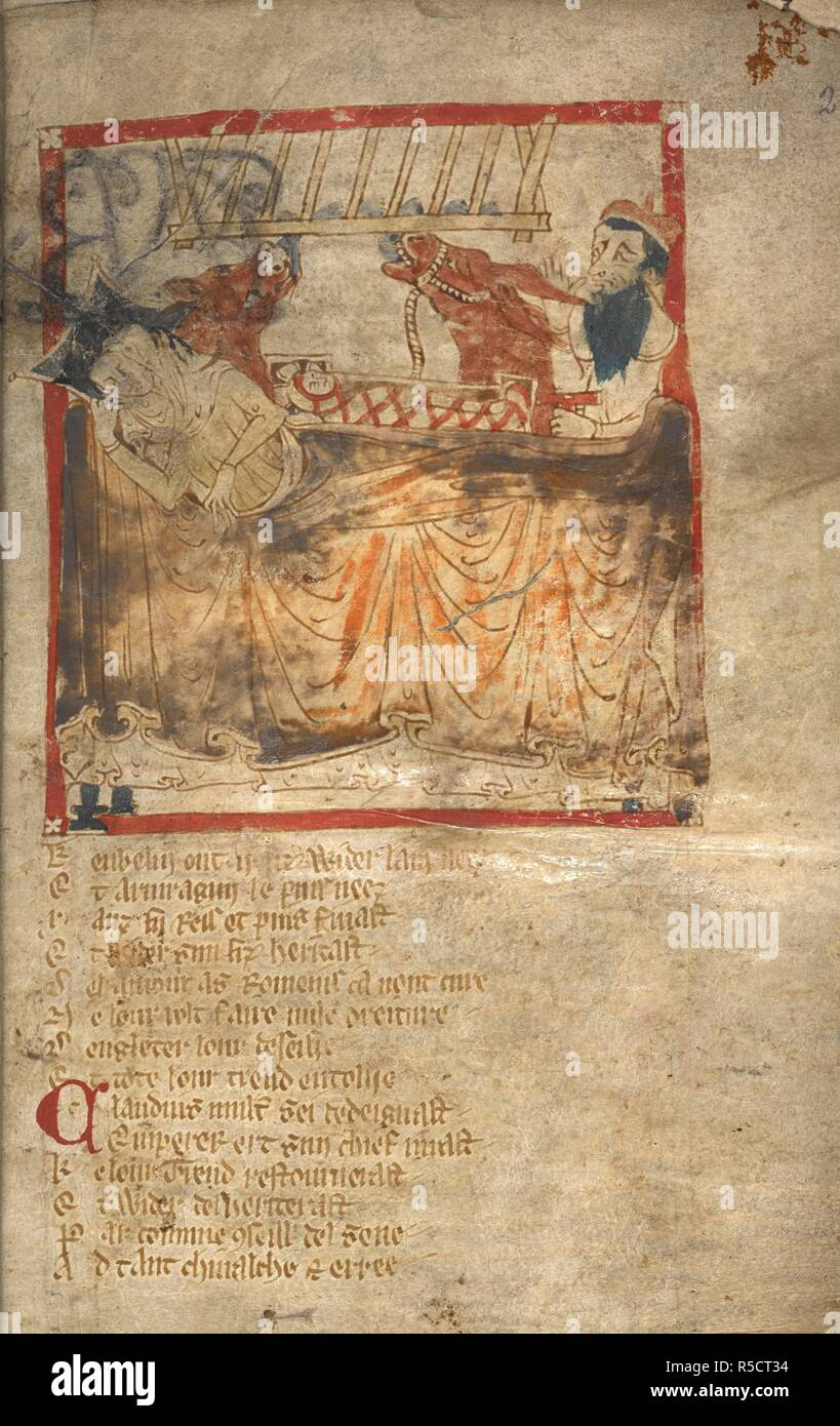 The Nativity. ROMANCES in French verse ... 14th century. Source: Egerton 3028 f.2. Author: Wace, Canon of Bayeux. Stock Photo