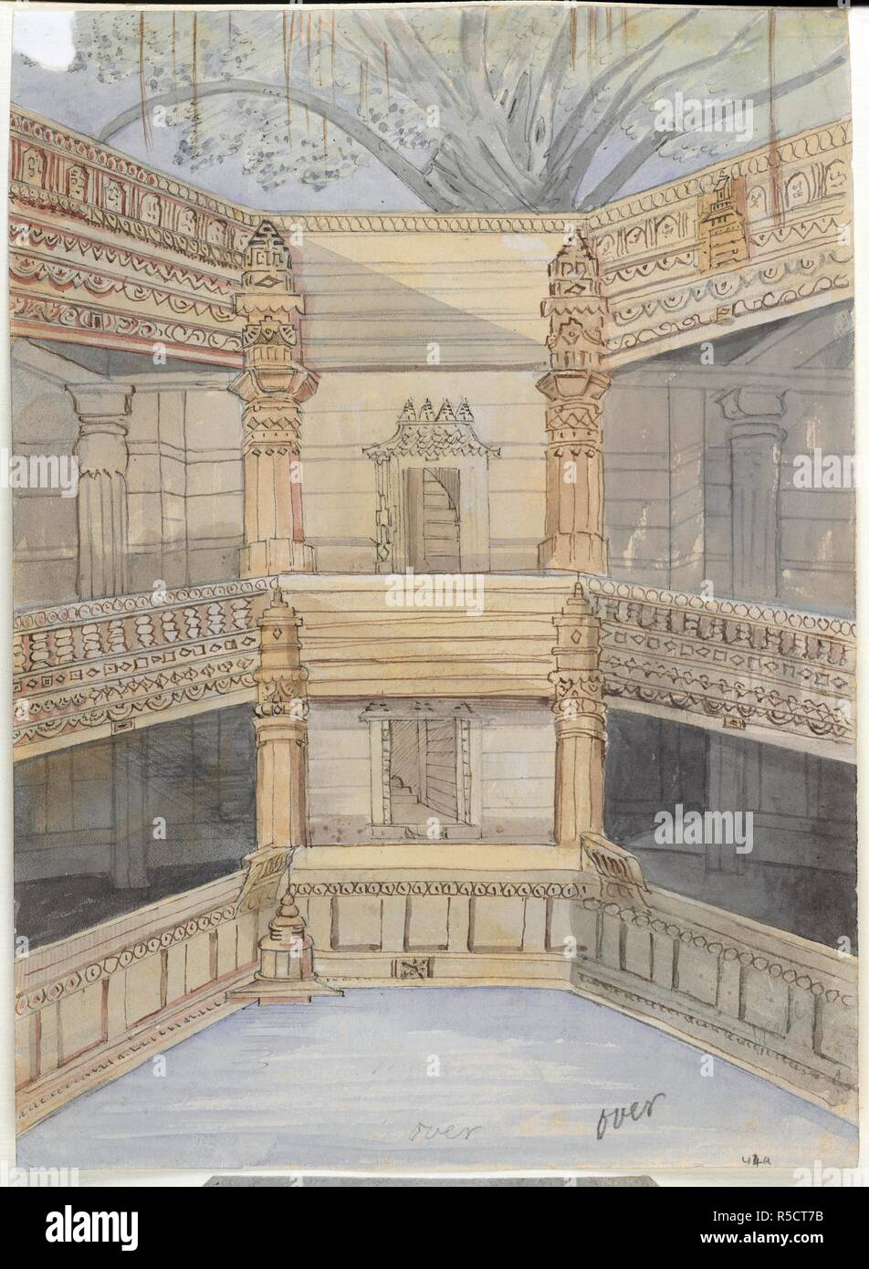 Ancient well. Album of 414 drawings and scraps, and 9 prints of. 1822 - 1856. Ancient well at Udalij Ahmedabad.  Image taken from Album of 414 drawings and scraps, and 9 prints of landscapes, architecture, natural history, and people, including Indian costumes and military uniforms. Made in W. India and the Deccan, 1822-56, and during a journey overland to England, 1840.  Originally published/produced in 1822 - 1856. . Source: WD 1478, 44a. Author: Bellasis, John Brownrigg. - Stock Image