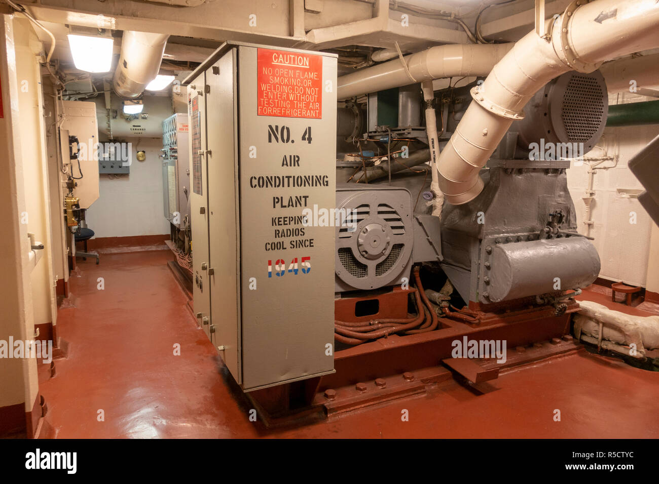 No 4 air conditioning plant, USS Midway Museum, San Diego, California, United States. - Stock Image