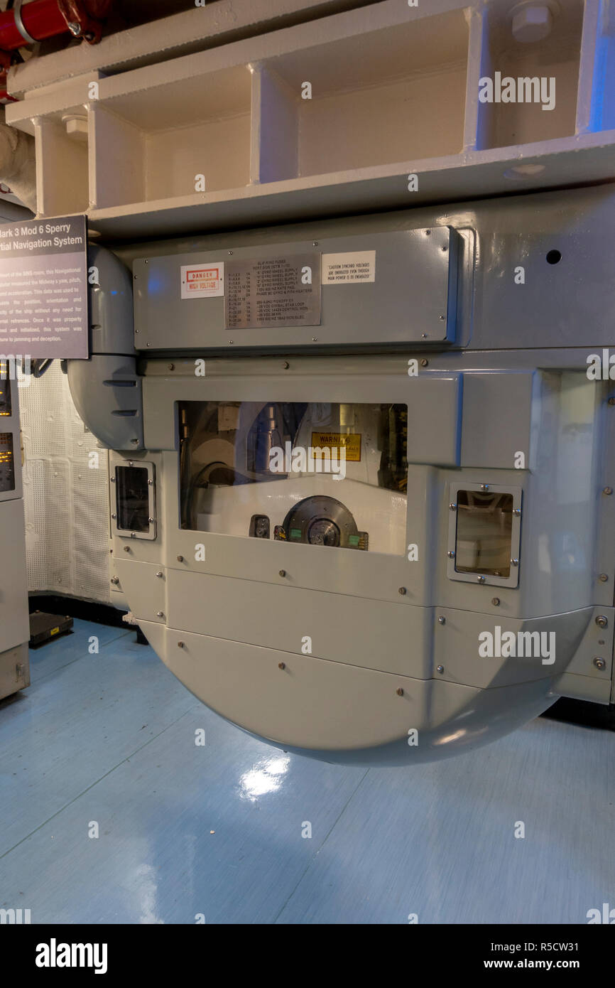 The Sperry gyroscope (Mark 3 Mod 6 Sperry),  Ship's Inertial Navigation System (SINS) room, USS Midway Museum, San Diego, California, United States. - Stock Image
