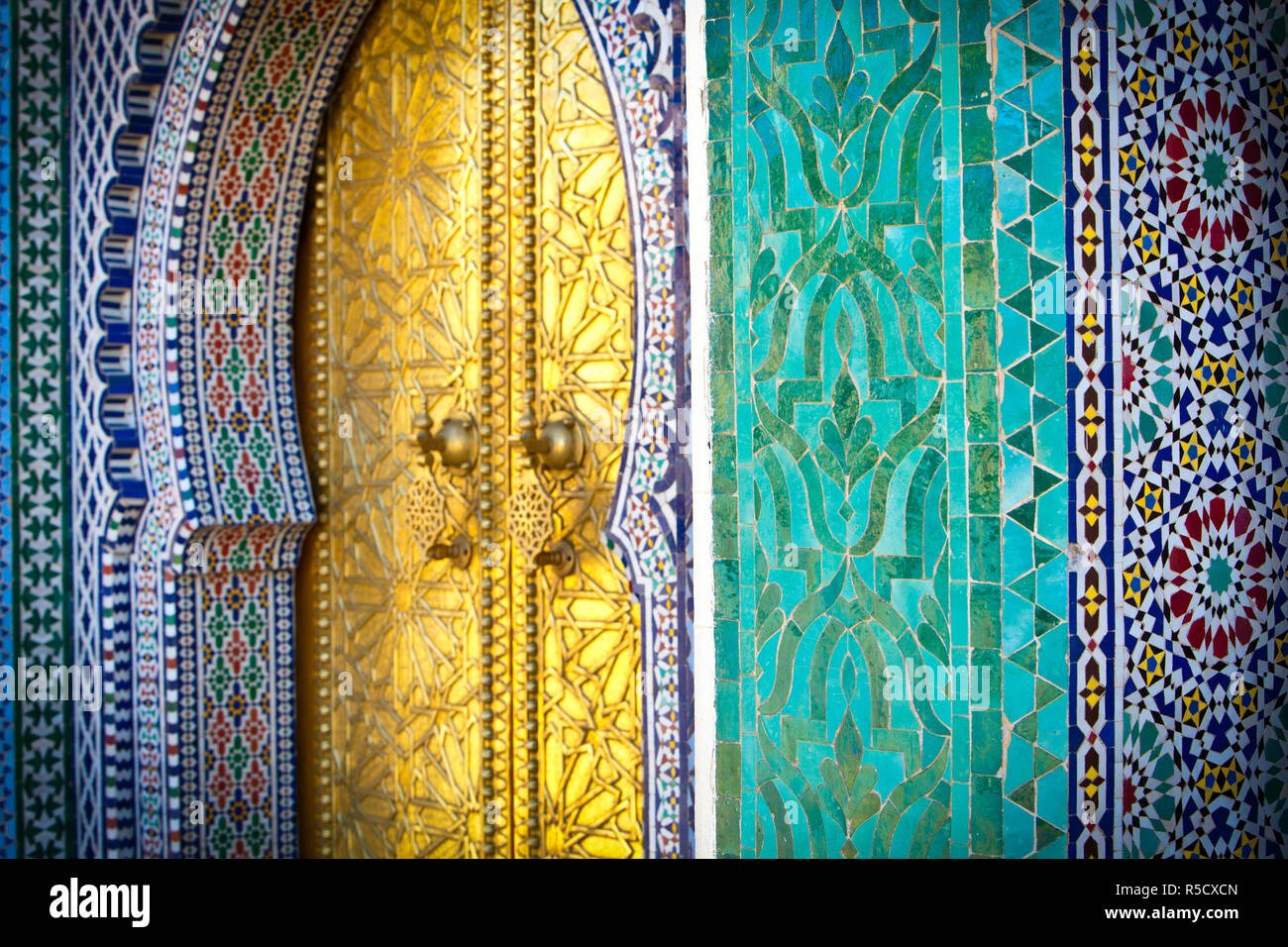 Royal Palace Door, Fes, Morocco - Stock Image