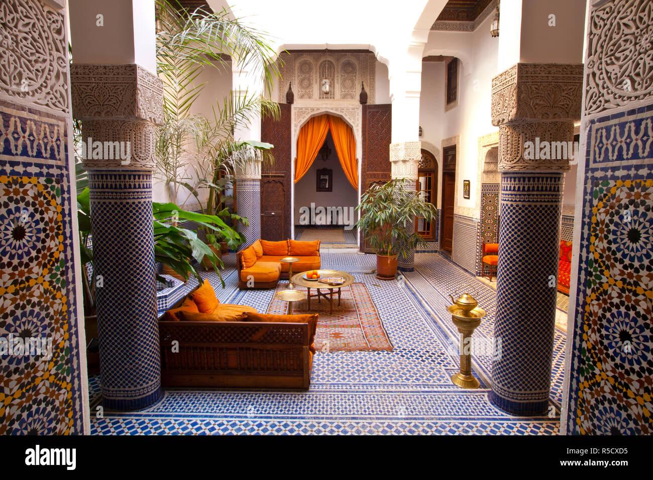 Riad interior, Fes, Morocco - Stock Image