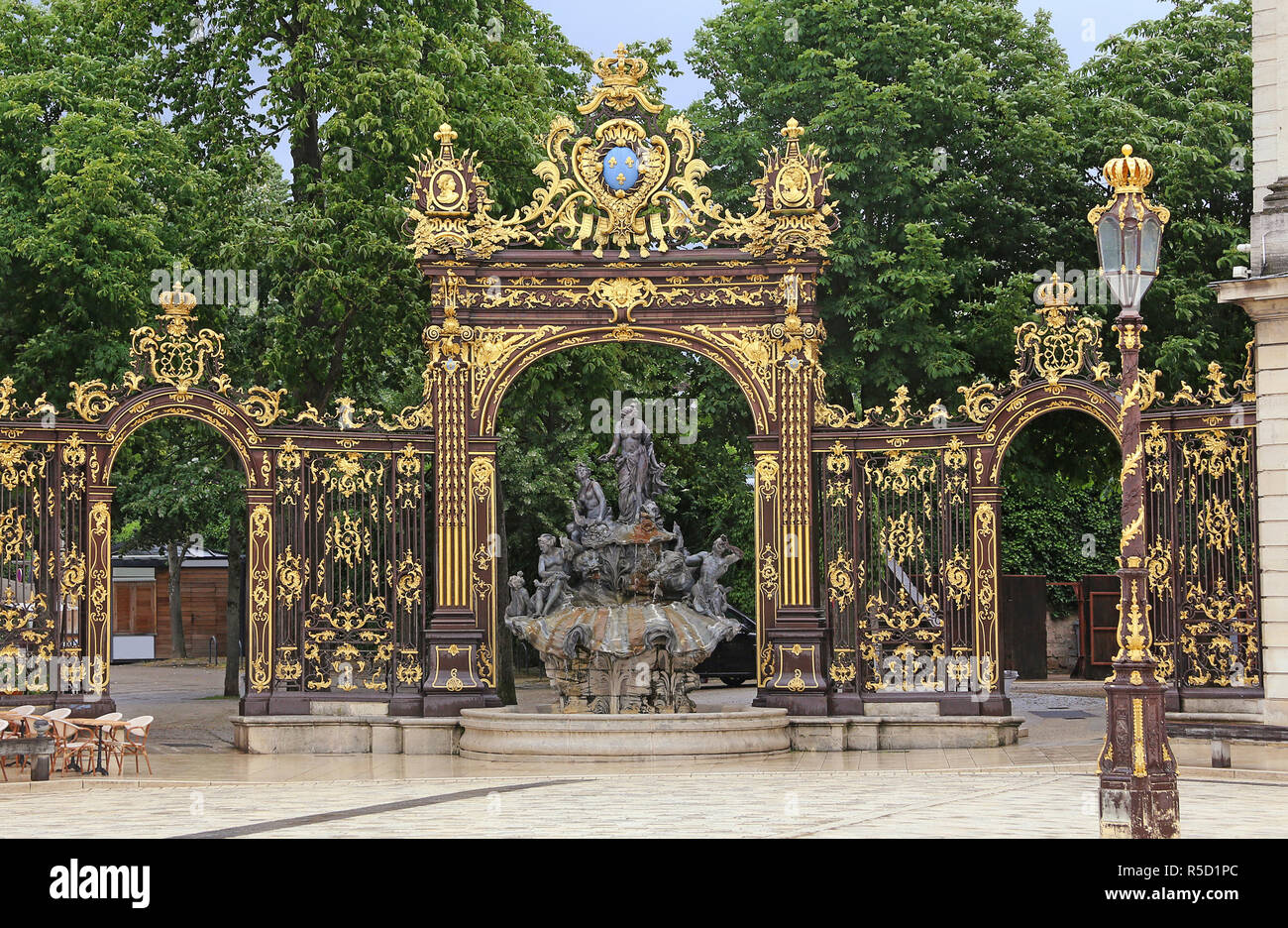 wrought iron work by jean lamour at place stanislas in nancy - Stock Image