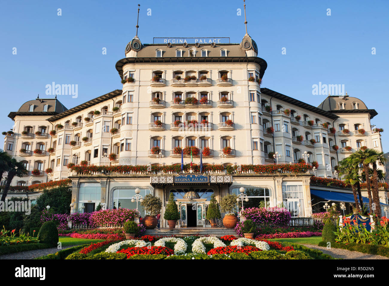 Italy, Piedmont, Lake Maggiore, Stresa, Regina Palace Hotel - Stock Image