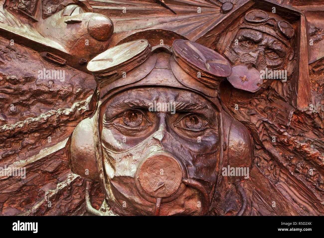 England, London, Embankment, Detail of Battle of Britain Memorial - Stock Image